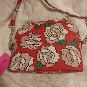 Betsey Johnson Bags - Betsy Johnson Red Floral Crossbody Bag